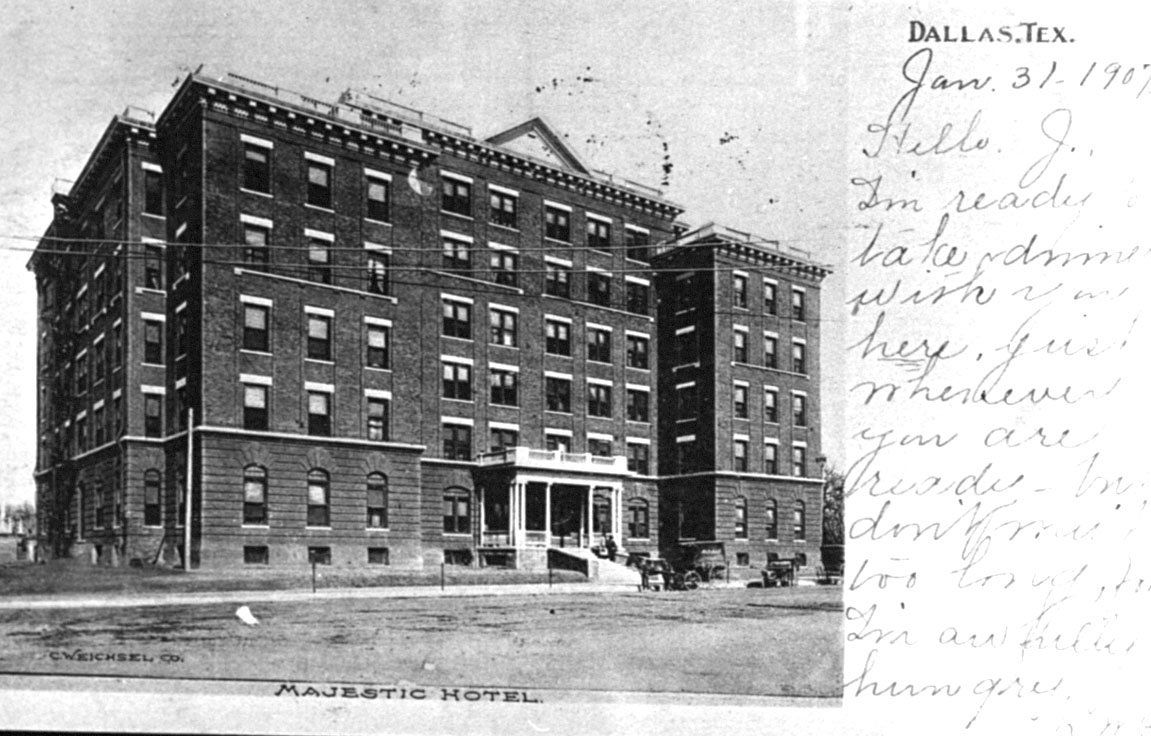 The Majestic Hotel, later known as the Ambassador Hotel, is shown on a postcard with a message dated Jan. 31, 1907.
