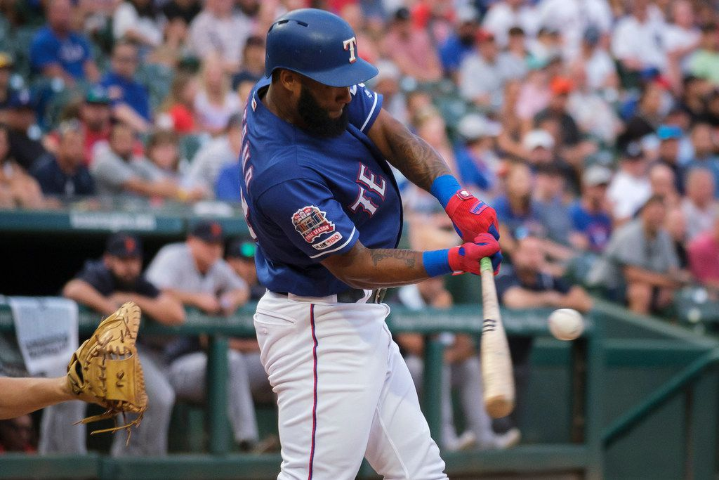 Texas Rangers second baseman Danny Santana drives in a run with a sacrifice fly during the third inning against the Detroit Tigers at Globe Life Park on Friday, Aug. 2, 2019, in Arlington. (Smiley N. Pool/The Dallas Morning News)