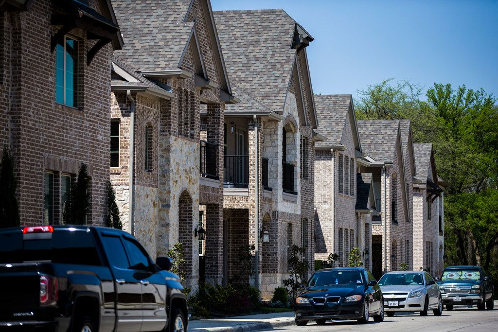 Homes in The Delaware at Heritage Crossing, a new development in old downtown Irving.