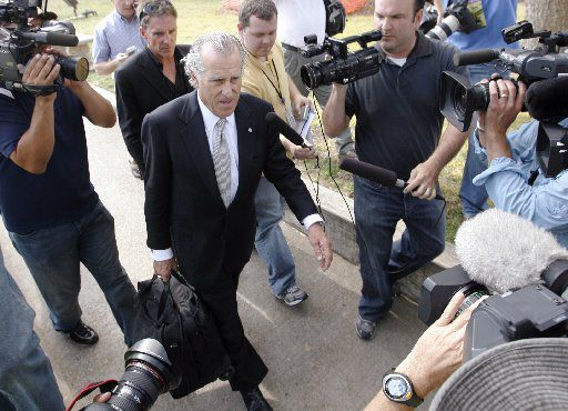 Gerald Goldstein walks out of the Tom Green County Courthouse in San Angelo April 9, 2008.