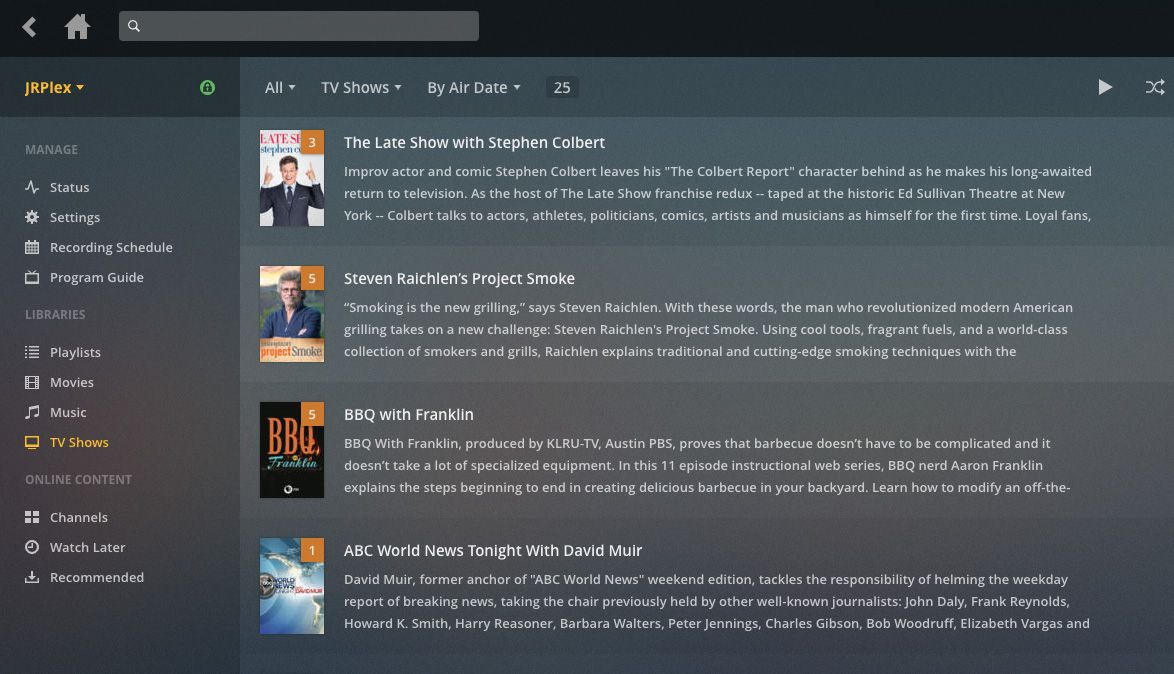 TV show descriptions are automatically downloaded from the internet.