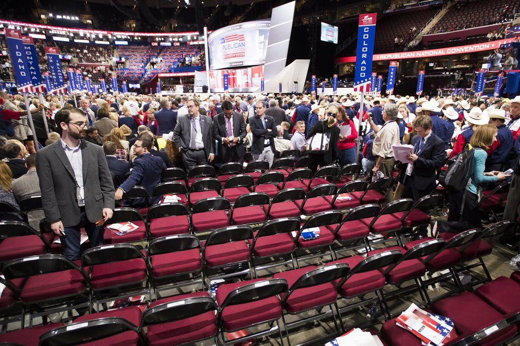Empty seats on the floor of the Republican National Convention after the Colorado delegation walked off the floor after an effort by anti-Trump delegates to force a roll-call vote on convention rules failed during the opening session of the convention during on Monday, July 18, 2016, in Cleveland.  (Smiley N. Pool/The Dallas Morning News)