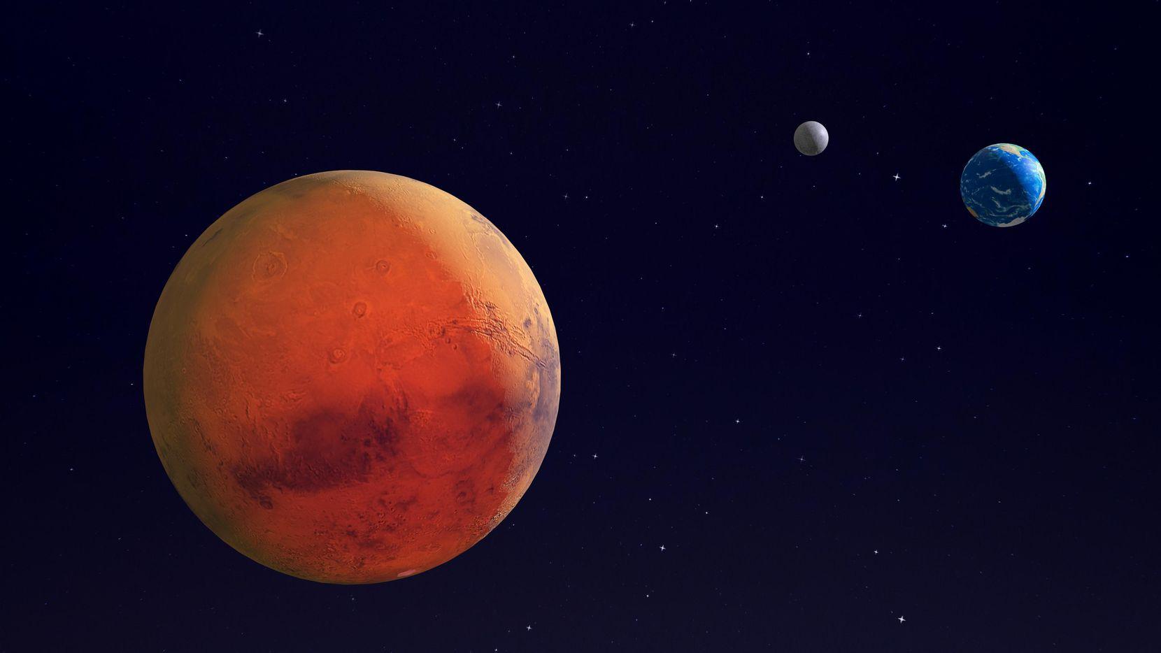 Imagen ilustrada proporcionada por NASA que muestra al planeta Marte, la tierra y la luna terrestre.(GETTY IMAGES)