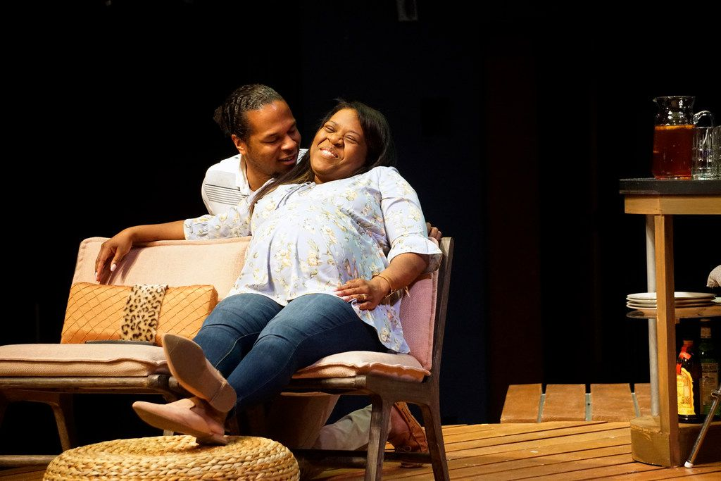 Djore Nance and Stormi Demerson play husband and wife in the world premiere of Regina Taylor's Bread,  a contemporary play set in Oak Cliff, presented by WaterTower Theatre at the Addison Conference and Theatre Centre in Addison.