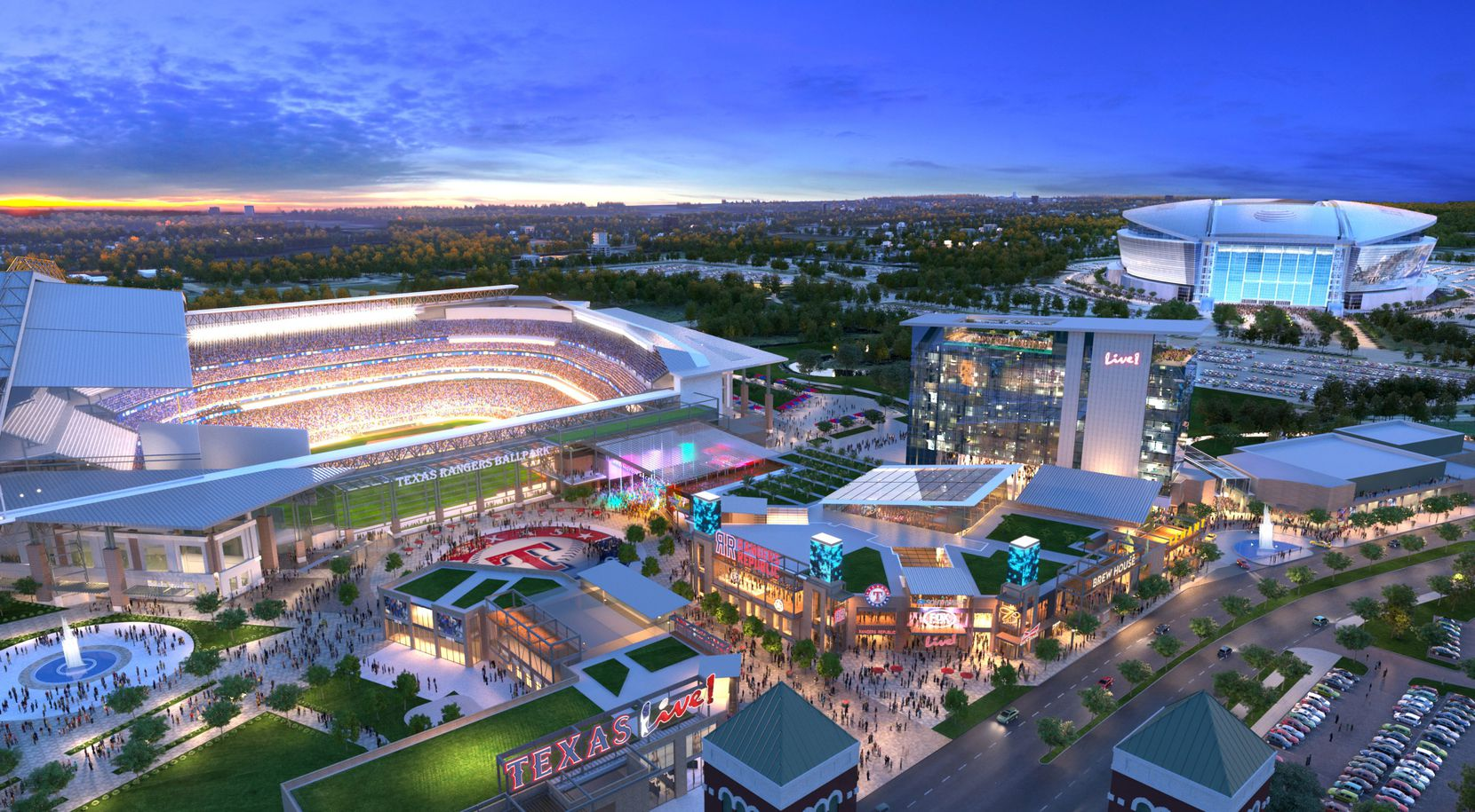 Artist rendering of Texas Live! entertainment complex, which will be next door to the new Texas Ranger stadium. Arlington voters approved public funding for the stadium Tuesday.