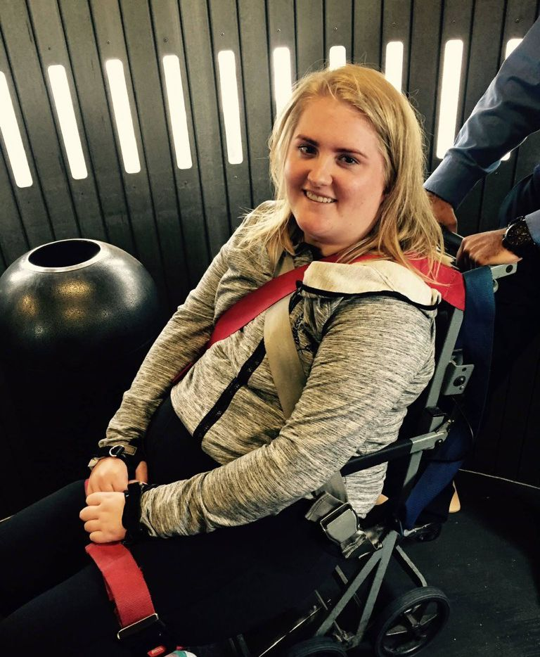 Sarah Milburn, 24, of University Park, was paralyzed after a crash in a van involving an Uber driver. She is paralyzed from the mid-chest down but has regained some use of her hands.  She caught an Uber because she thought it was safe. She filed a lawsuit against Uber and others.