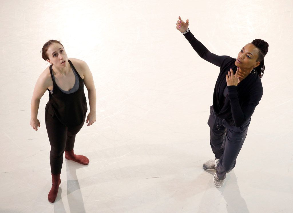 Kayleigh Eidson (left) is coached by DBDT: Encore! artistic director Nycole Ray as they rehearse My'Kal Stromile's Mirror of the Effigy.