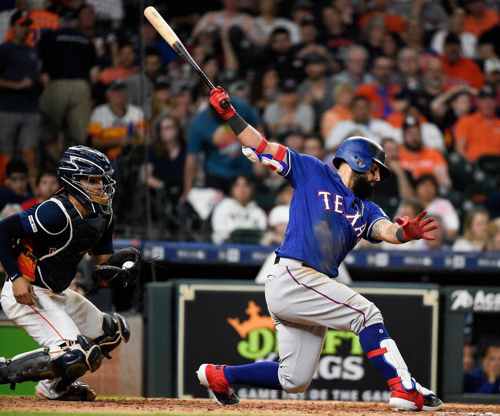 Texas Rangers' Rougned Odor strikes out to end the top of the eighth inning of the team's baseball game against the Houston Astros, Saturday, May 11, 2019, in Houston. (AP Photo/Eric Christian Smith)