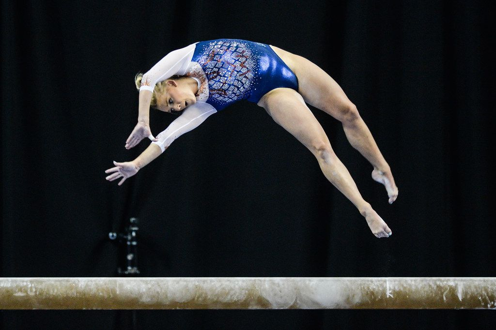 Alyssa Baumann of the University of Florida competes on the balance beam at the meet held at Chaifetz Arena in St. Louis, Missouri. Baumann has sued USA Gymnastics, alleging the group failed to protect her from Dr. Larry Nassar.