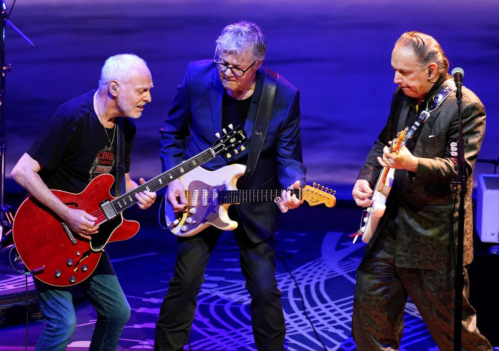 Steve Miller, center, of the Steve Miller Band, performs with Peter Frampton, left, and Jimmie Vaughan during his concert at Austin City Limits at the Moody Theater, in Austin, Texas, July 30, 2018. Performing on bass guitar, left, Kenny Lee Lewis, and playing drums, Gordy Knudtson. Steve is currently on his 50th Anniversary Tour across America.