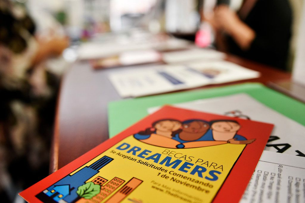 Scholarship information for Dreamers displayed at a education information window inside the Mexican Consulate in Dallas on Tuesday, June 12.