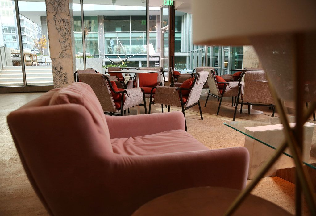 Plenty of comfortable seating at Scout bar and restaurant at the Statler Hotel in Dallas.