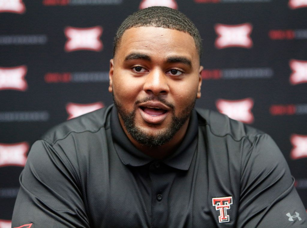 Texas Tech defensive lineman Broderick Washington, Jr., speaks to the media on the first day of Big 12 NCAA college football media days Monday, July 15, 2019, at AT&T Stadium in Arlington, Texas. (AP Photo/David Kent)