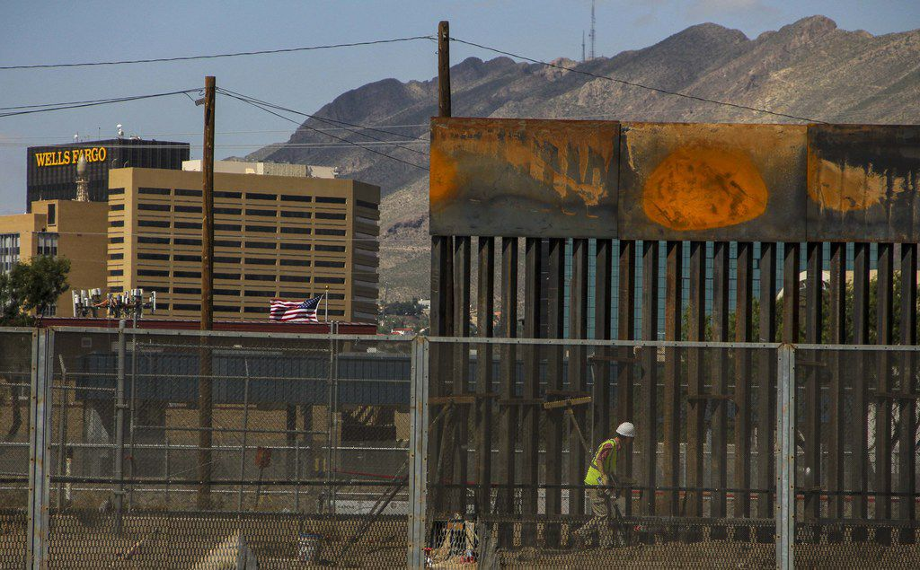 Workers in El Paso replaced a section of the Mexico-U.S. border fence next to the international border bridge Sept. 26.