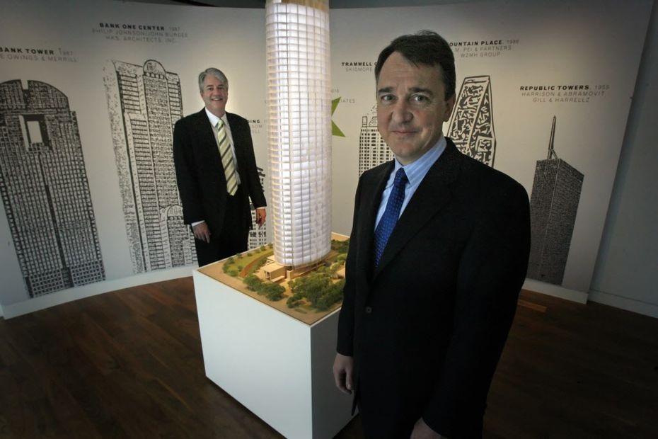 In happier times: Museum Tower development partners John Sughrue (L), and Dan Boeckman are pictured at the Museum Tower office in downtown Dallas on Dec. 11, 2007. The pair and their two partners later sold the building to the Dallas Police and Fire Pension System.