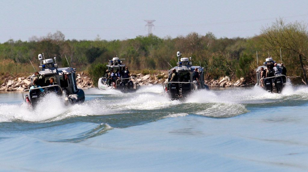 U.S. Customs and Border Protection agents take to the waters of the Rio Grande near Mission, Texas. (Nathan Lambrecht/The Monitor)