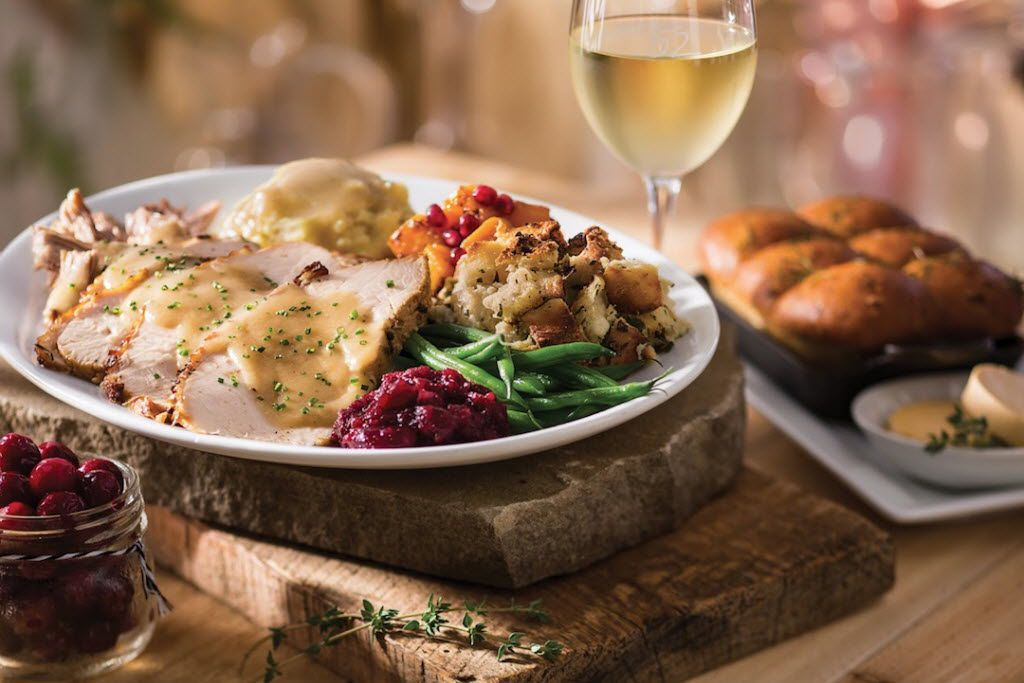 Seasons 52's Thanksgiving dinner will include Plainville Farms roasted turkey, traditional herb stuffing, Yukon Gold mashed potatoes, maple-glazed butternut squash, French green beans and house-made cranberry relish.