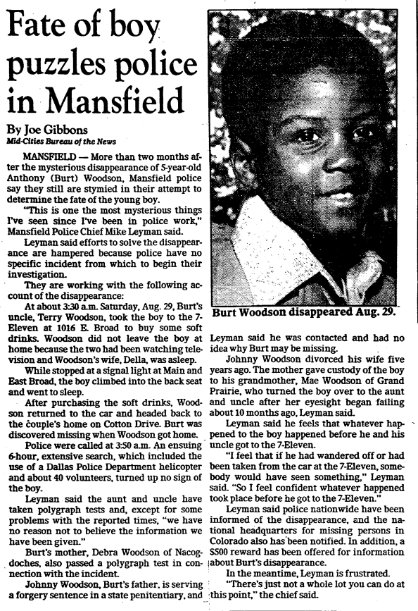 A Dallas Morning News article from November 1981 reported that police were puzzled by the case.