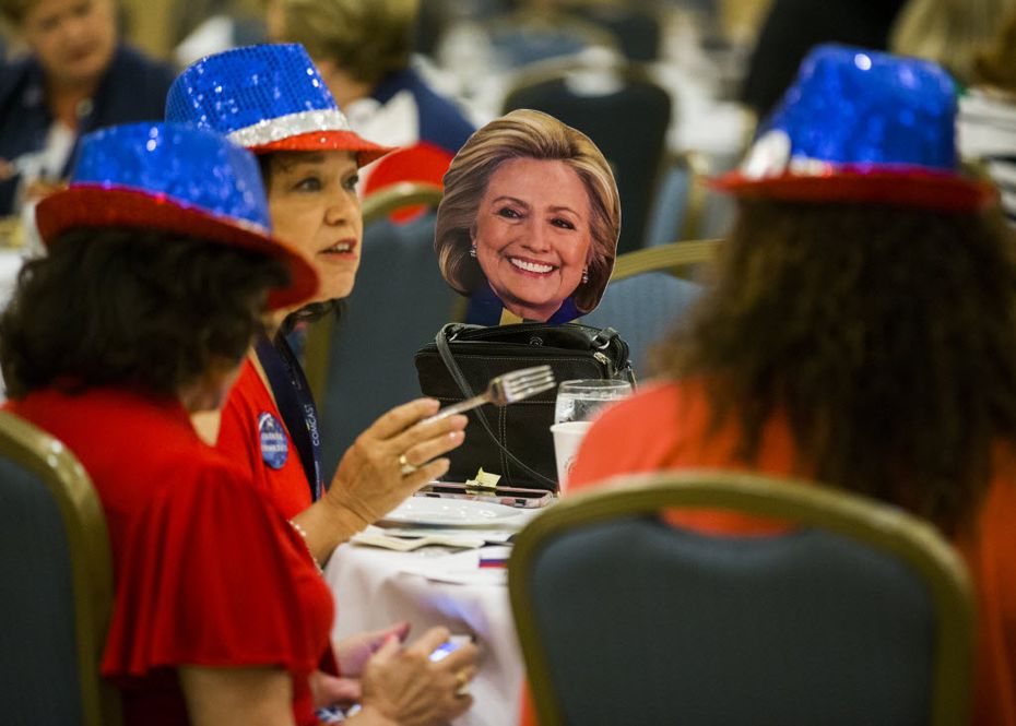 A Hillary Clinton face cutout joined delegates from Beaumont for the Texas delegation breakfast. (Ashley Landis/Staff Photographer)