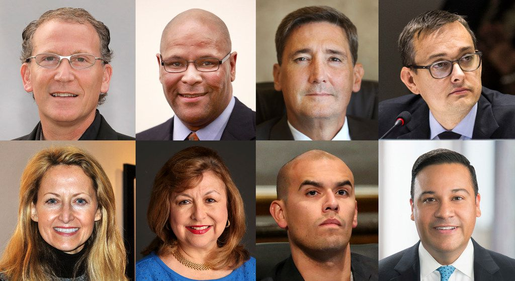 Photo composite of candidates and contenders for Dallas mayor, top row from left: Mike Ablon, Albert Black Jr., Larry Casto, Scott Griggs. Bottom row from left: Lynn McBee, Regina Montoya, Miguel Solis, and Jason Villalba.