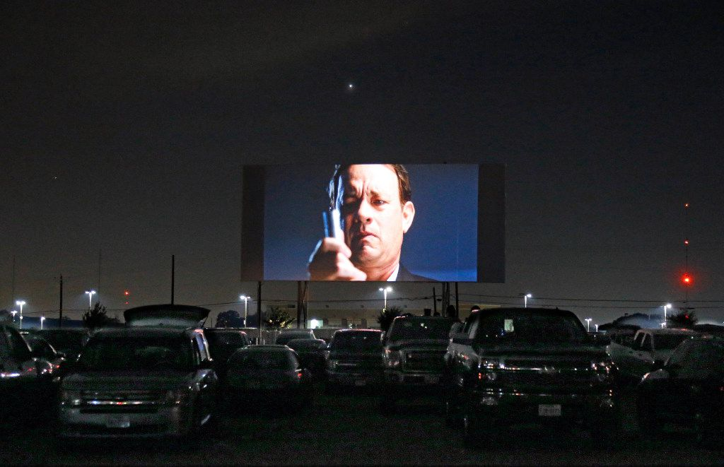 """The movie """"Inferno"""" starring Tom Hanks is shown at the Coyote Drive-In in Lewisville, Texas, photographed on Saturday, October 29, 2016. (Louis DeLuca/The Dallas Morning News)"""