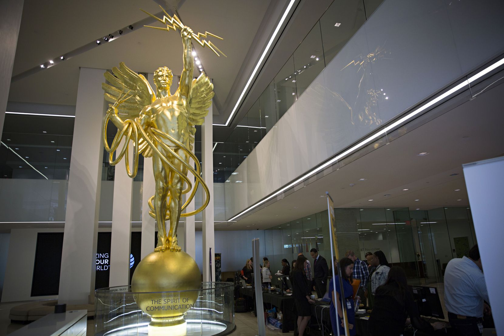 The Spirit of Communications statue is seen in the lobby of AT&T's downtown headquarters before the move.
