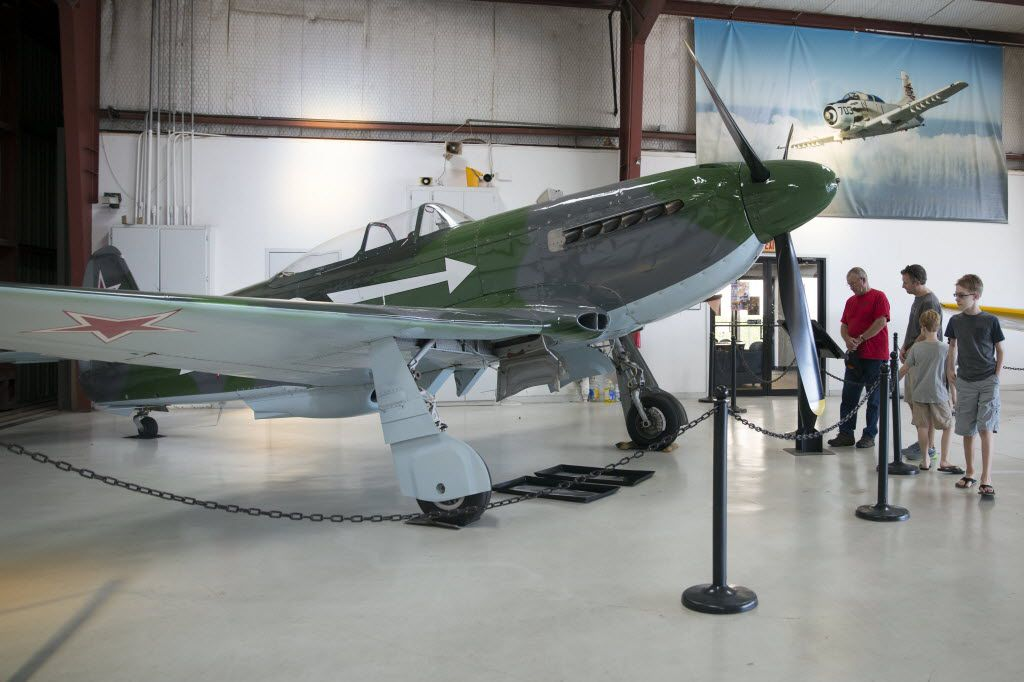 A Yakovlev Yak-3 fighter aircraft is on display at Cavanaugh Flight Museum in Addison, Texas.