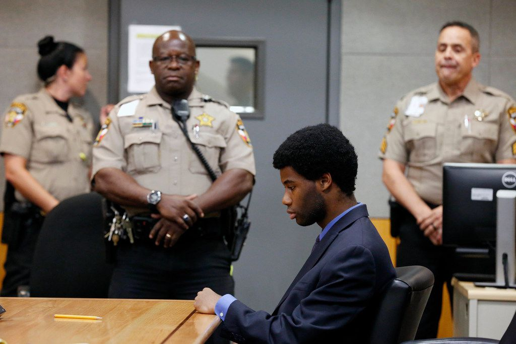 Meechaiel Criner sits alone after his verdict was read Friday. Criner was found guilty of capital murder in the death of 18-year-old Haruka Weiser.