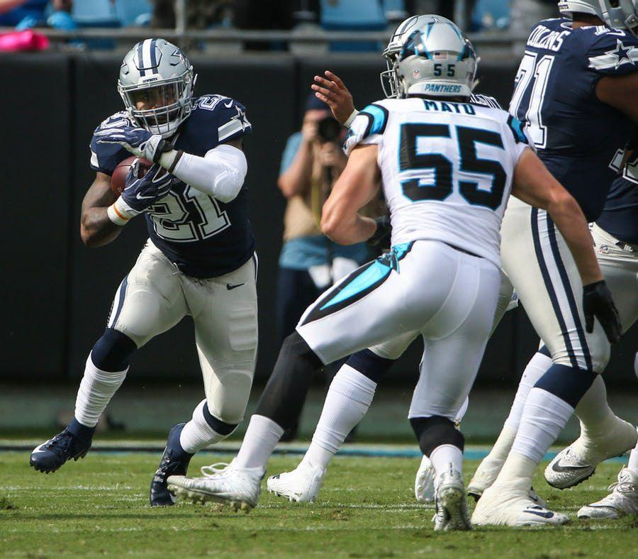 Ezekiel Elliott y los Dallas Cowboys cayeron ante los Panthers de Carolina en el inicio de la temporada de la NFL el domingo. Foto DMN