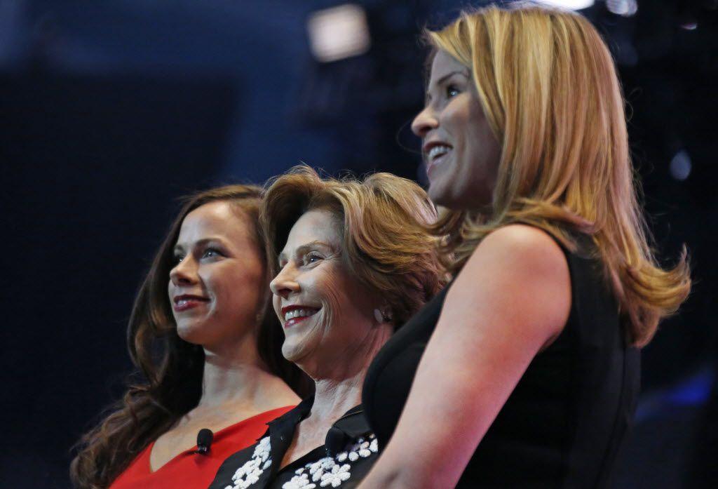 Barbara Pierce Bush (left), Laura Bush and Jenna Bush Hager (2015 File Photo/Louis DeLuca)