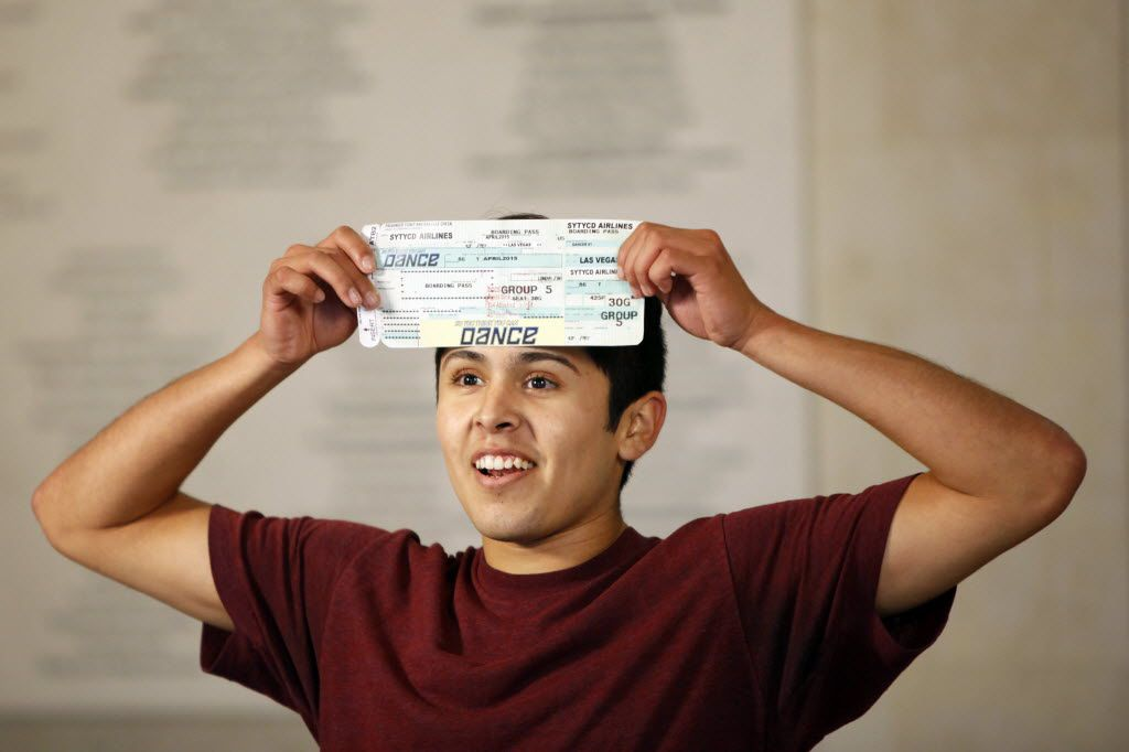 Moises Parra, 18, of Garden Grove, California, celebrates after an audition with his plane ticket to Las Vegas for the next round of So You Think You Can Dance.