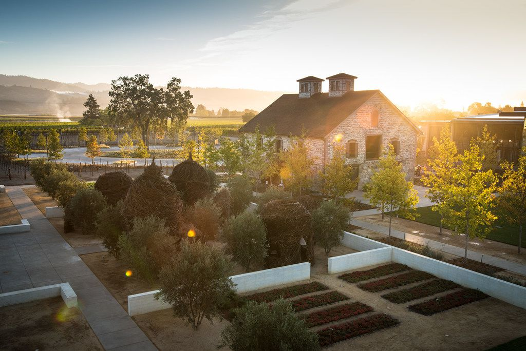 Craig and Kathryn Walt Hall own the Sonoma, St. Helena and Rutherford wineries in California. This is the Bergfield building at St. Helena.