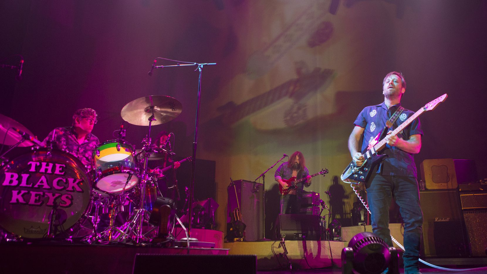"Patrick Carney, left, and Dan Auerbach of The Black Keys perform in concert during their ""Let's Rock Tour,"" at the Wells Fargo Center, Monday, Oct. 14, 2019, in Philadelphia."
