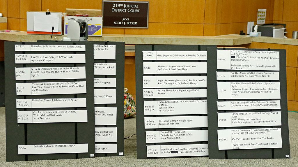 Prosecutors filled out these boards to create a timeline based on testimony in the Jason Lowe murder trial at the Collin County Courthouse in McKinney, Texas, on Monday, Sept. 18, 2017.