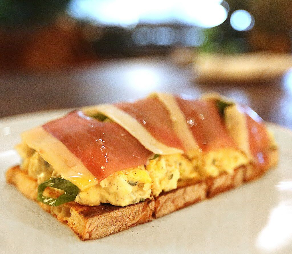 The Theodore's dry-cured ham and horseradish-spiked egg salad toast