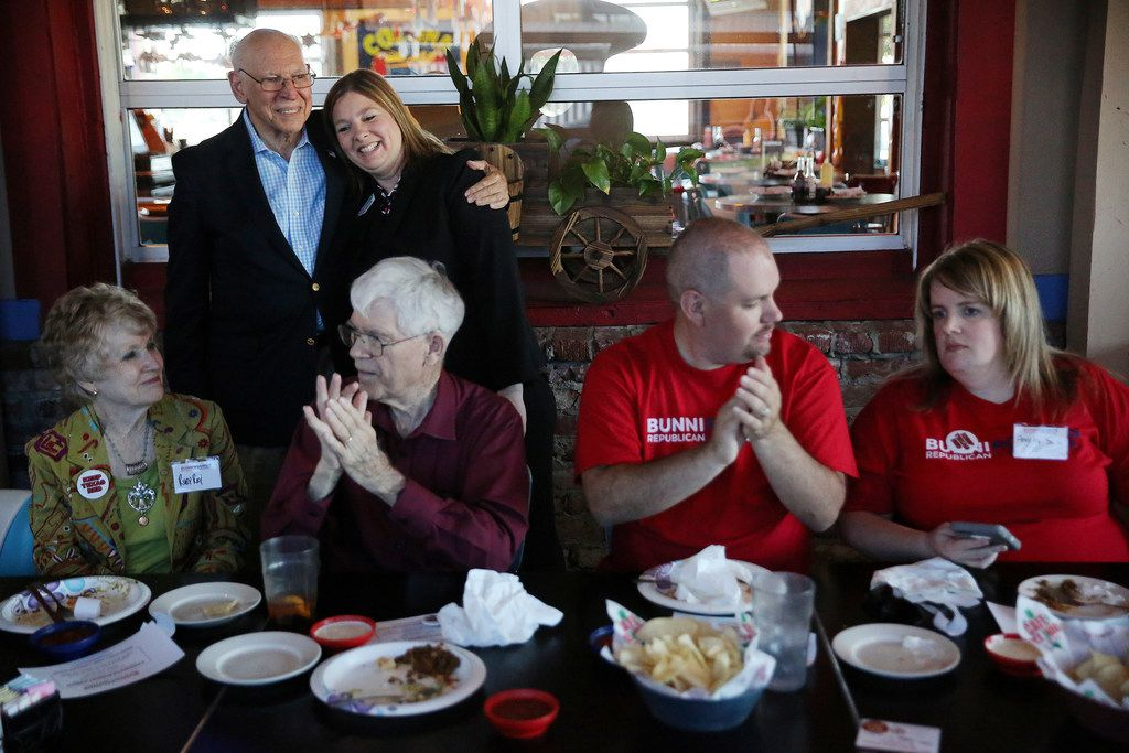 Rafael Cruz, father of U.S. Sen. Ted Cruz, hugs Bunni Pounds after introducing her during a campaign event for Pounds at Cafe Del Rio in Mesquite. (Andy Jacobsohn/Staff Photographer)