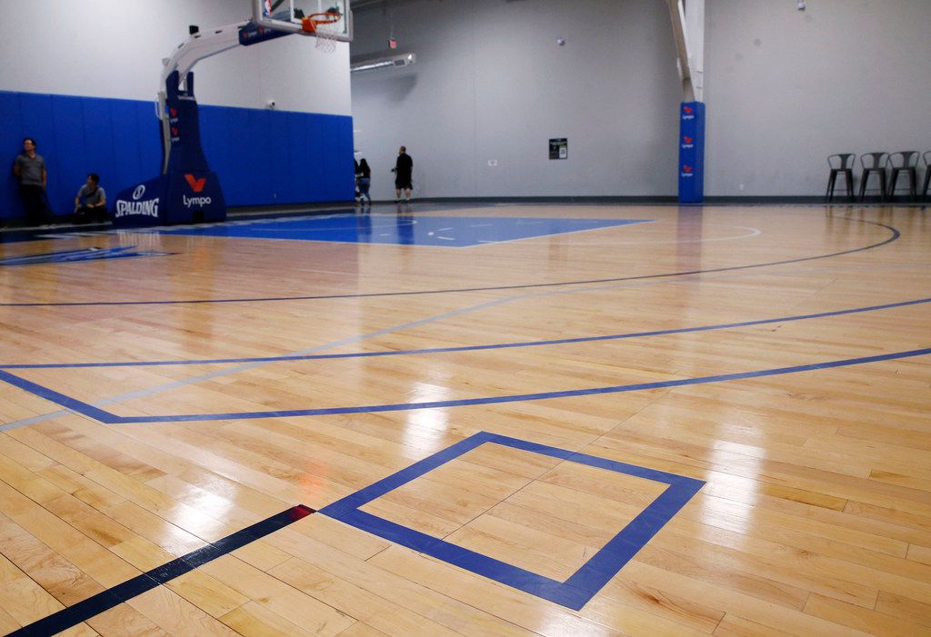 Extended lines and squares are seen past the three point line on the practice court during training camp practice at the Dallas Mavericks practice facility in Dallas on Wednesday, October 2, 2019. (Vernon Bryant/The Dallas Morning News)
