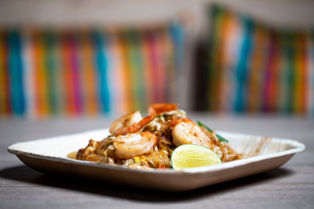 Pad thai goong is stir fry with noodles and shrimp. It's one of the dishes at new Thai restaurant Ka-Tip.