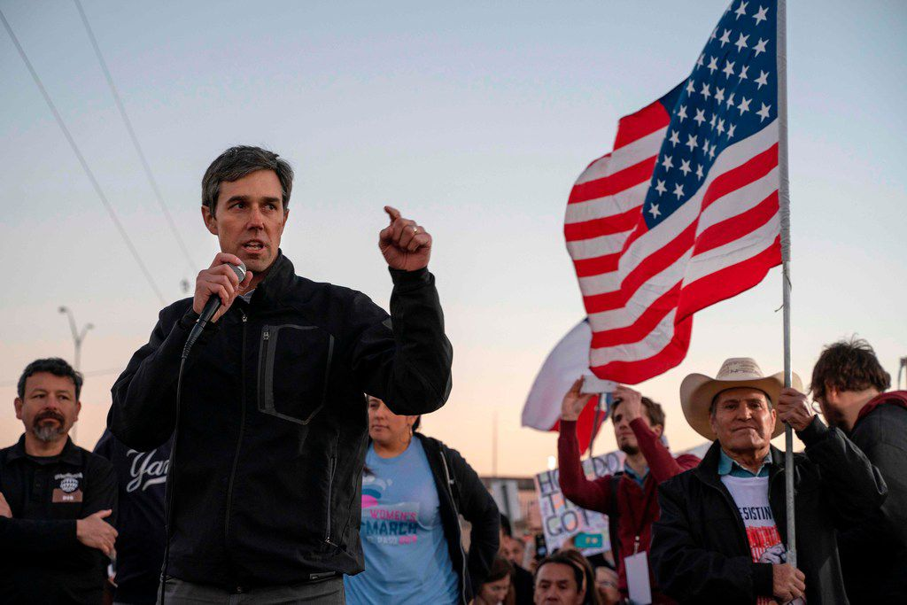 "Former Texas Congressman Beto O'Rourke speaks to a crowd of marchers during the ""March for Truth"" in El Paso, Texas, on February 11, 2019."