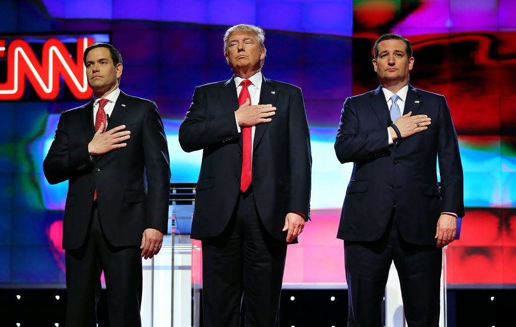 "At one GOP primary debate, Donald Trump said that as a businessman, ""I give to everybody."" (Pedro Portal/The Miami Herald)"