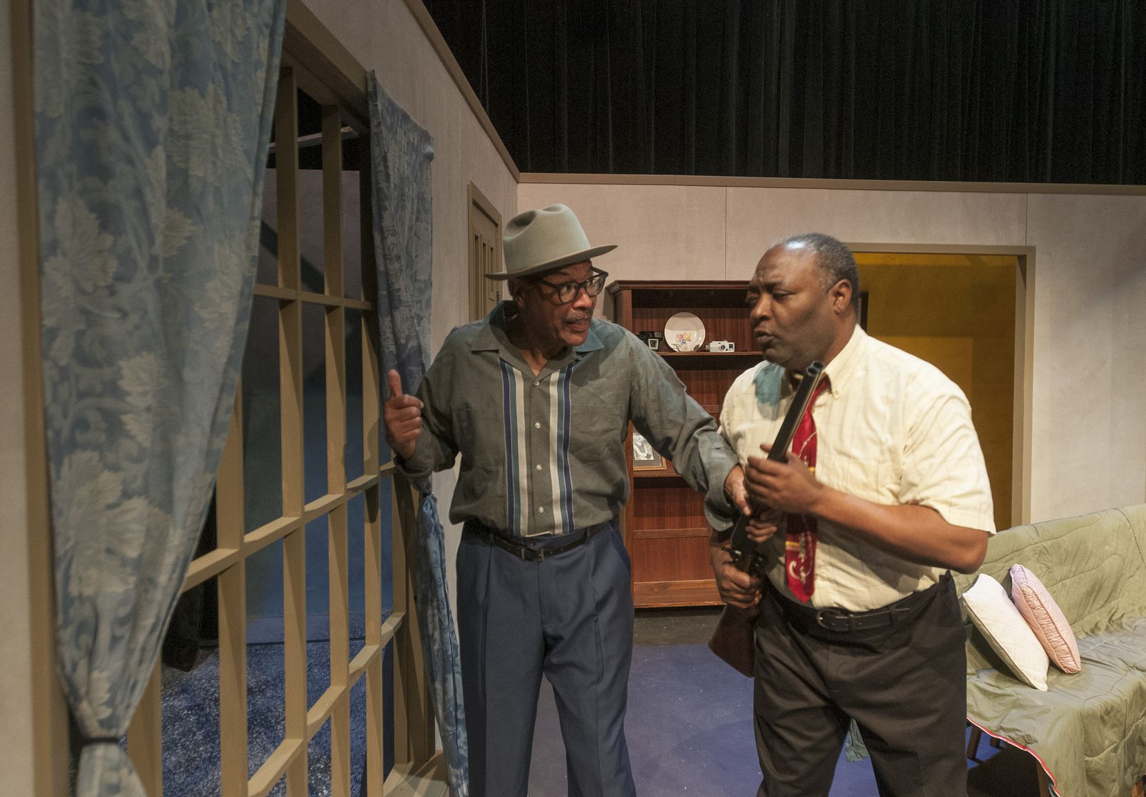 Tyrees Allen and Calvin Gabriel perform a scene from Mississippi Goddamn during rehearsal at the South Dallas Cultural Center in February 2015.