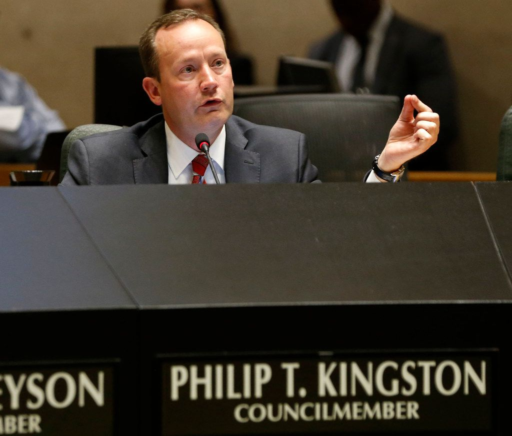 Dallas City council member Philip T. Kingston speaks during a meeting at Dallas City Hall in Dallas on Wednesday, April 24, 2019. The city council voted Wednesday to mandate Dallas businesses within the city limits to provide earned paid sick time to employees. (Vernon Bryant/The Dallas Morning News)
