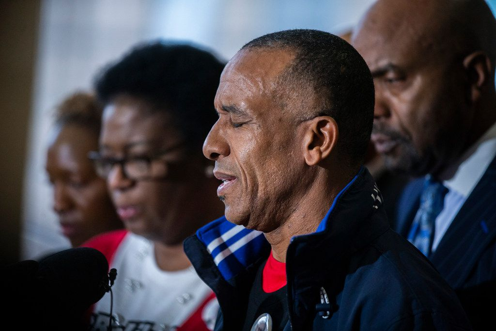 Bertrum Jean, Botham Jean's father, gives remarks at the Frank Crowley Courts Building in Dallas on Friday, November 30, 2018. Botham Shem Jean was shot by former Dallas police officer, Amber Guyger, who was off duty, in his apartment on September 6, 2018. On Friday the grand jury voted to indict her on a murder charge. (Shaban Athuman/The Dallas Morning News)