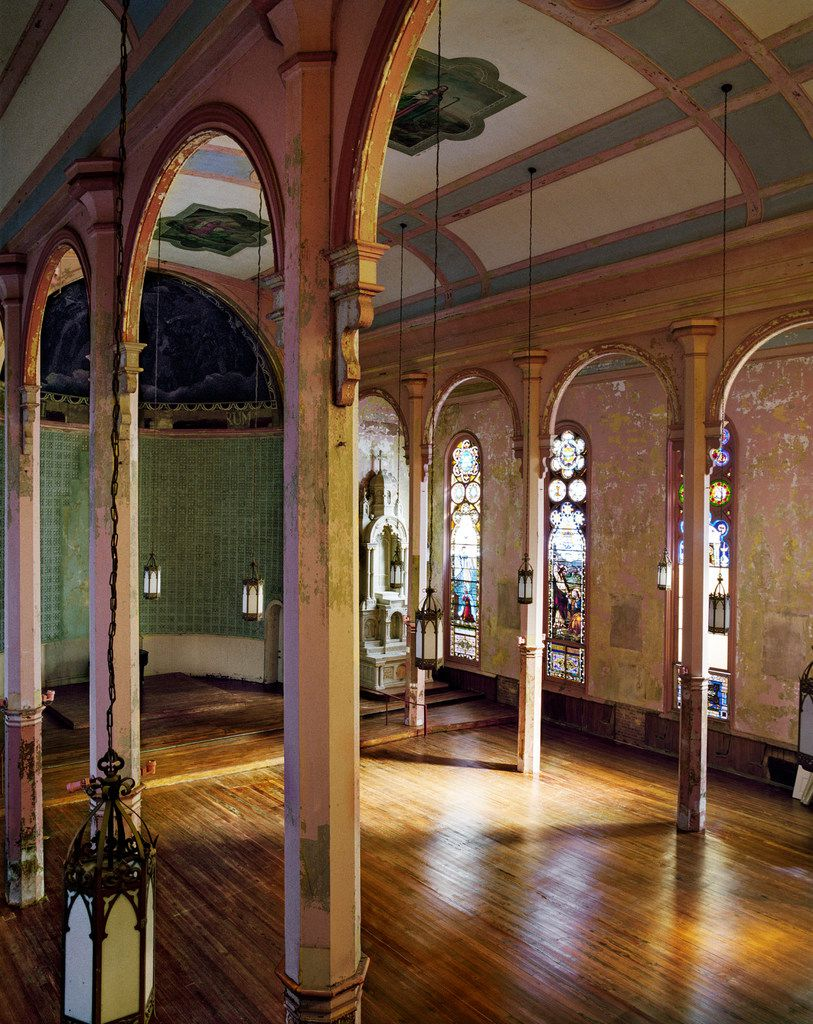 Stained-glass windows make for a stylish event space in the former church.