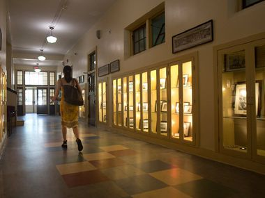 The main hallway of the original building that houses Booker T. Washington High School for the Performing and Visual Arts in Dallas.