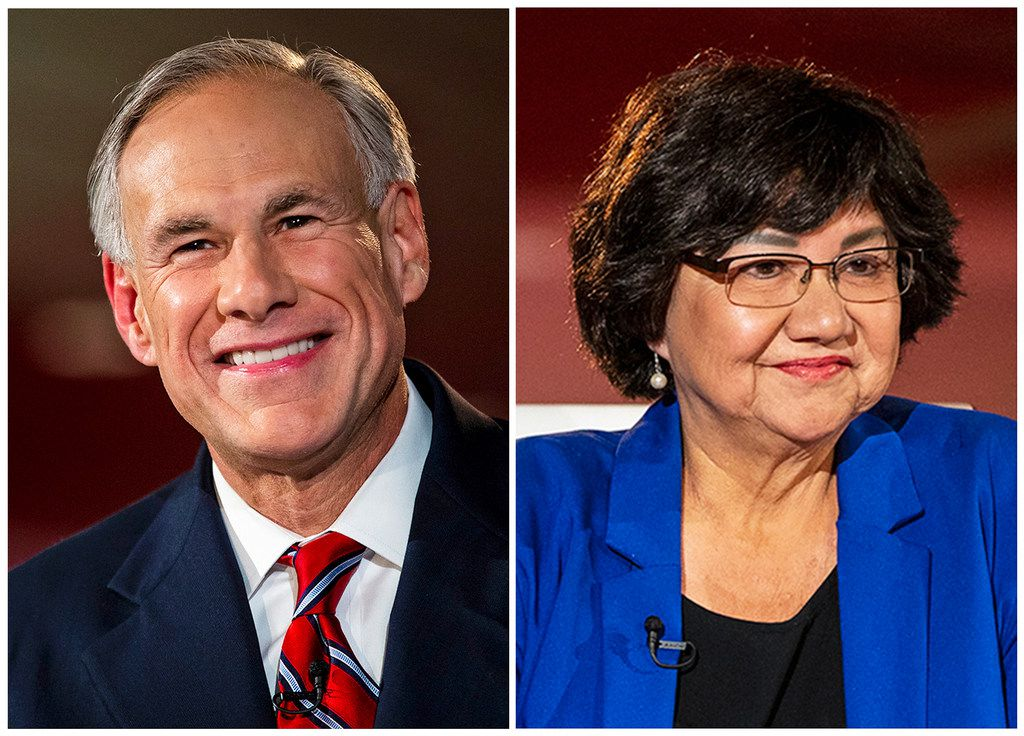 This combination of Sept. 28, 2018, file photo, shows candidates for Texas governor in the November 2018 election, from left, incumbent GOP Gov. Greg Abbott and Democrat Lupe Valdez. (Nick Wagner/Austin American-Statesman)