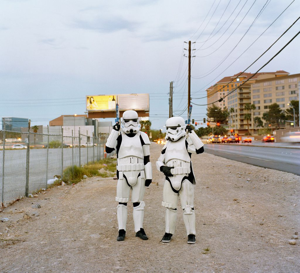Troopers by Misty Keasler shows some of the performers from the Las Vegas Strip in a less-glitzy locale.