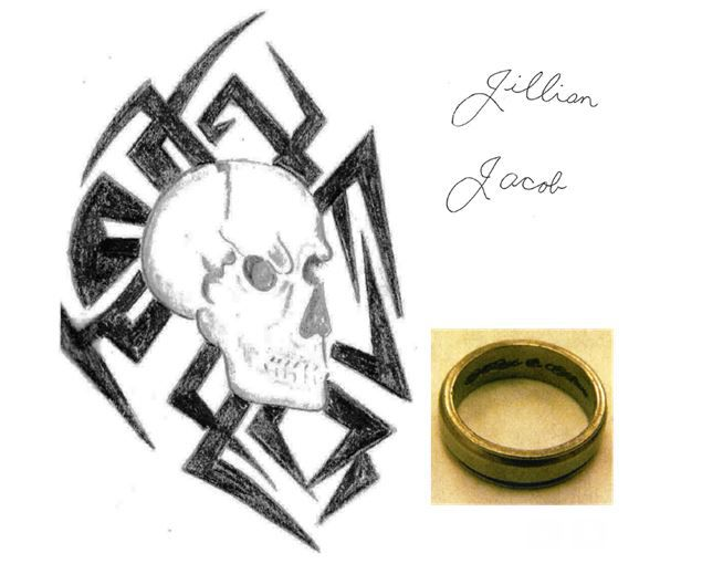 "He had two tattoos: a skull with a tribal design on his right shoulder and the names Jillian and Jacob in cursive on his left pectoral. He wore a tungsten ring on his left middle finger with the inscription ""always and forever"" on the inside."