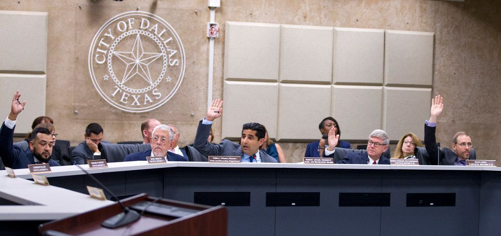 Park Board President Bobby Abtahi (center) calls for a vote on sending the Fair Park First-Spectra contract to the City Council.