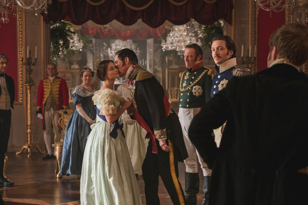 Jenna Coleman as Victoria, Alex Jennings as Leopold, Andrew Bicknell as the Duke of Coburg, and David Oakes as Ernest in  Victoria.